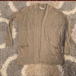 LOFT Tan Cardigan Open Sweater - Size Medium